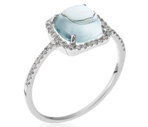 Damen Ring 18 Karat (750) Gold Diamant 0.22 ct Aquamarin 2.85 ct