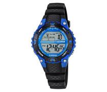 Unisex Armbanduhr Digitaluhr mit LCD Zifferblatt Digital Display und schwarz Kunststoff Gurt k5684/5