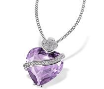 Damen-Herzkette 925 Sterlingsilber mit amethystfarbenem violettem Zirkonia Herzanhänger im Brillantschliff