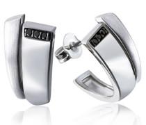 Damen-Ohrstecker Black Diamonds 925 Sterlingsilber 6 schwarze Diamanten (0.06 ct) Ohrringe Brillanten Schmuck