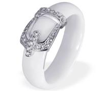 Damen-Ring 925 Sterling Silber Porzellan Zirkonia weiß