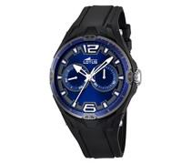 Herren Armbanduhr mit Blau Zifferblatt Analog Display und schwarz Gummiband 18184/1