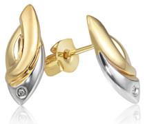 Damen-Ohrstecker 375 Gold Bicolor 2 Diamanten 0,01 ct. Ohrringe Schmuck