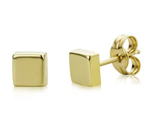 Damen Ohrstecker 9 Karat / Viereckige Ohrringe aus 375 Gelbgold / Hochwertiger Gelbgold-Schmuck Ø 4,5 mm