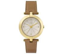 Damen-Armbanduhr Lds Greenwich Goldtone Tan Strap And White Dial Analog Quarz TW2P79500