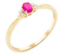 Damen-Ring 375 (9kt) Gelbgold mit Rubin und Diamanten