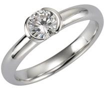 Basic Damen Ring 925 Sterling Silber rhodiniert Zirkonia weiß Brillantschliff