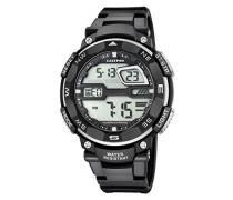 Herren Digitale Armbanduhr mit LCD Dial Digital Display und schwarz Kunststoff Gurt k5672/4
