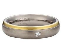 Boccia Unisex-Ring Titan teilvergoldet Diamant (0.03 ct) weiß Brillantschliff Gr. 61 (19.4) - 0130-1261