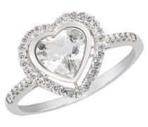 Damen-Ring Herz 585 Weißgold 1 Weißtopas 42 Diamanten SI/H 0,26 ct.