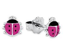 Prinzessin Lillifee Kinder-Ohrstecker Marienkäfer Mädchen 925 Silber rhodiniert Emaille pink 6 mm