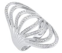 PREMIUM Damen Ring 925 Sterling Silber Zirkonia Rundschliff weiß Größe: 58 mm 0605362616