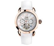 315B990 Damen-Armbanduhr, Automatik, Analog, Perlmutt-Zifferblatt, Lederarmband, Weiß