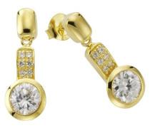 Damen-Ohrhänger 925 Sterling Silber vergoldet Zirkonia weiß 273220445-1L