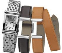 Damen-Armbanduhr Antares austauschbare Women'Armbanduhr mit silberfarbenem Zifferblatt Analog-Anzeige und Silber-Edelstahl-Armband/B01SO COF17048