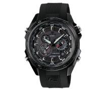 Herren Solar Armbanduhr mit Resin-Armband, Schwarz, EQS-500C-1A1ER