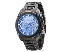 Police Mesh bis Herren Mechanische Armbanduhr mit grauem Zifferblatt Analog-Anzeige und schwarz Edelstahl Armband 14543jsb/13M