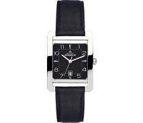 14237/14 Damen-Armbanduhr, Leder, Farbe: Schwarz