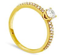 Damen Ring Solitaire Collection Duos en Or jaune 375/1000 Diamant 0.31ct Taille 58, 9 Karat (375) Gelbgold, Diamant, 58 (18.5), BADM02086-0011