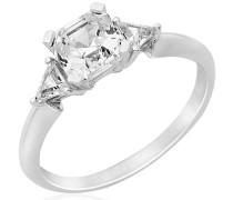 Miore Damen-Ring 925 Sterling Silber Solitär Prinzessschliff Zirkonia Gr. 54 (17.2) MPS052R4
