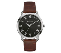Classic 96A184 - Herren Designer-Armbanduhr - Armband aus Leder - Elegantes Design - Braun/Schwarz