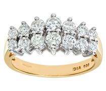 Damen-Ring 9 K Gelbgold Diamant 1,0 ct