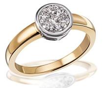 Damen-Ring Glamour 585 Gelbgold 13 Diamanten 0,33 ct.