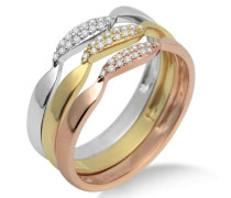 Damen-Ring 3-teilig 750 Tricolor mit Brillanten