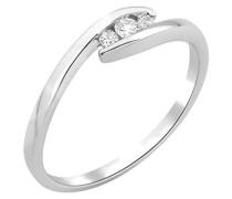 Miore Damen-Ring 9 Karat (375) Weißgold Diamant (0,1 ct)-Arabeske