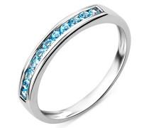 Damen-Ring Memoire 375 weißgold mit blauen Topas