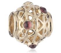 Damen-Bead 585-Gelbgold , Ornamentkugel mit Rhodolith , 750508RHL