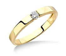 Miore Damen-Ring 375 Gelbgold Diamant (0.1 ct) weiß Rundschliff Gr. 58 (18.5) - M9070R8