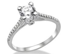 Damen-Ring 925 Sterling-Silber hochglanzpoliert Zirkonia Solitär MPS022RR
