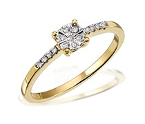 Goldmaid Damen-Ring Glamour 585 Gelbgold 15 Diamanten 0,09 ct. Gr. 56 Pa R6337GG56