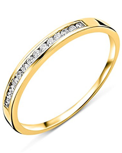 18 Karat (750) Gelbgold 52 (16.6) Damenring, mit  14 (0,1 cts) Diamanten