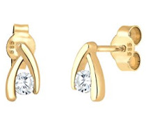 Premium Damen-Ohrstecker 585 Gelbgold Zirkonia Rundschliff 0308620516