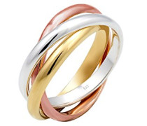 Damen-Ring Bi - Tri Color Wickel Kreis Silber vergoldet