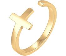 Ring Kreuz Geo Größenverstellbar 925 Silber vergoldet 0601320317