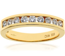 Damen-Ring 750 Gelbgold 18 K Diamant Brilliant Rund 0,5 ct PR03701Y18JPK-K