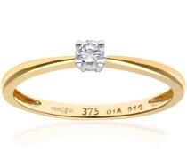 Damen-Ring 375 Gelbgold 39 Diamanten 9 Karat
