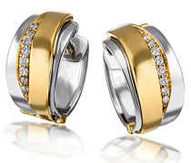 Damen-Creolen 585 Gelbgold und 925 Sterlingsilber 16 Diamanten Bicolor Ohrringe Brillanten