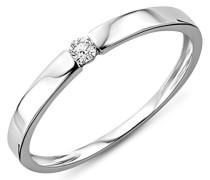 Diamantring für Damen / Edler Ring ideal für die Verlobung aus 9 kt. Weißgold mit 0.05 ct. Solitär / In 3 unterschiedlichen Größen erhältlich