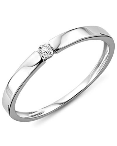 Damen-Ring Solitaire 375 weißgold mit Brillant 0.05ct Diamant weiß Rundschliff