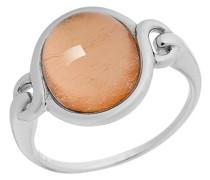 Damen-Ring 925 Silber rhodiniert Glas gold Rundschliff