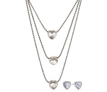 Damen-Schmuckset Valentine Halskette + Ohrringe Messing Kristall weiß 901413019
