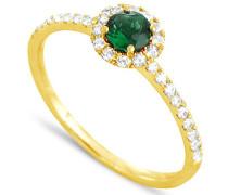 Damen-Ring 18 Karat Gelbgold, Smaragd-badm 07096-0001