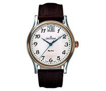 1727.1559 Men'Schweizer Quarz-Uhr mit weißem Zifferblatt Analog-Anzeige und braunem Lederband