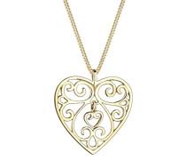 Damen Schmuck Halskette Kette mit Anhänger Herz Liebe Freundschaft Liebesbeweis Ornament Silber 925 Vergoldet Länge 45 cm