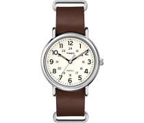 Timex Unisex-Armbanduhr Originals Weekender Analog Quarz Braun Leder T2P495
