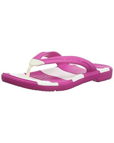 crocs damen crocs beachlineflip unisex erwachsene zehentrenner sandalen pink fuchsia white. Black Bedroom Furniture Sets. Home Design Ideas